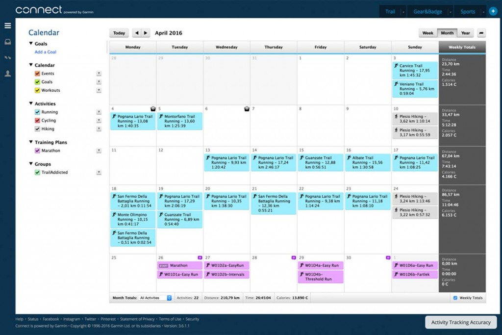 Garmin Connect - Calendar full page