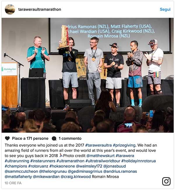 Tarawera Ultramarathon podio