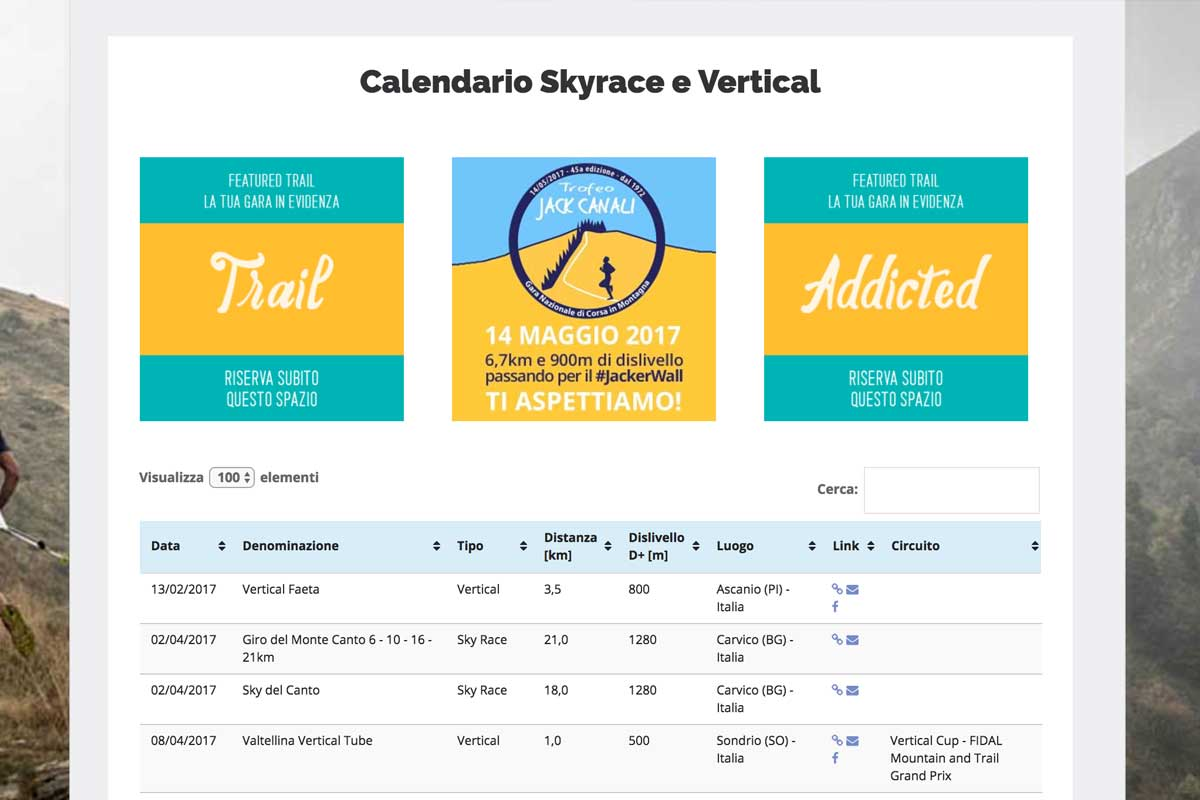 Calendario Skyrace e Vertical 2017